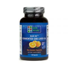 Blue Ice Fermented Cod Liver Oil - Non Gelatin Capsules - Orange - Bottle Front