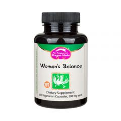 Dragon Herbs - Woman's Balance - Dietary Supplement - 100 Capsules, 500 mg Each - Bottle Front